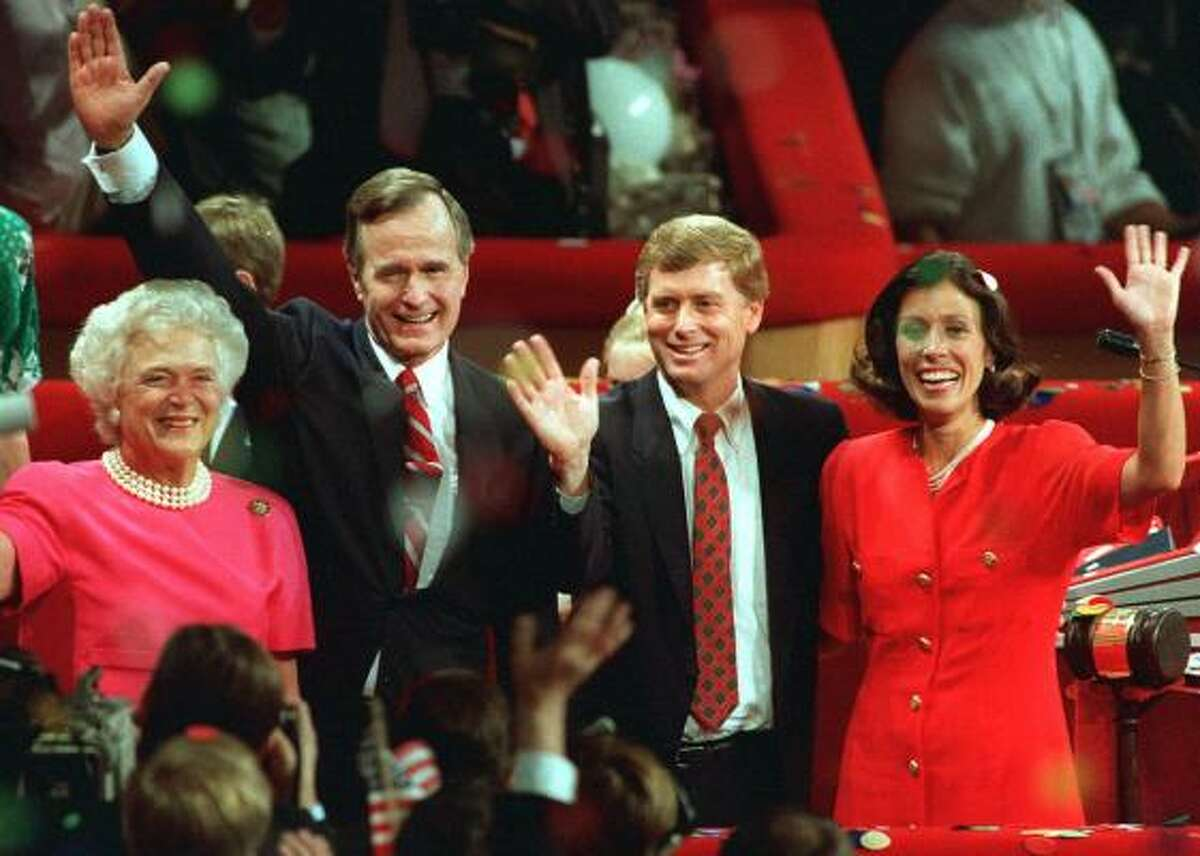 Dan Quayle and Marilyn Quayle, right, stand with George Bush and Barbara Bush on the podium at the Republican National Convention in New Orleans in Aug. 18, 1988.