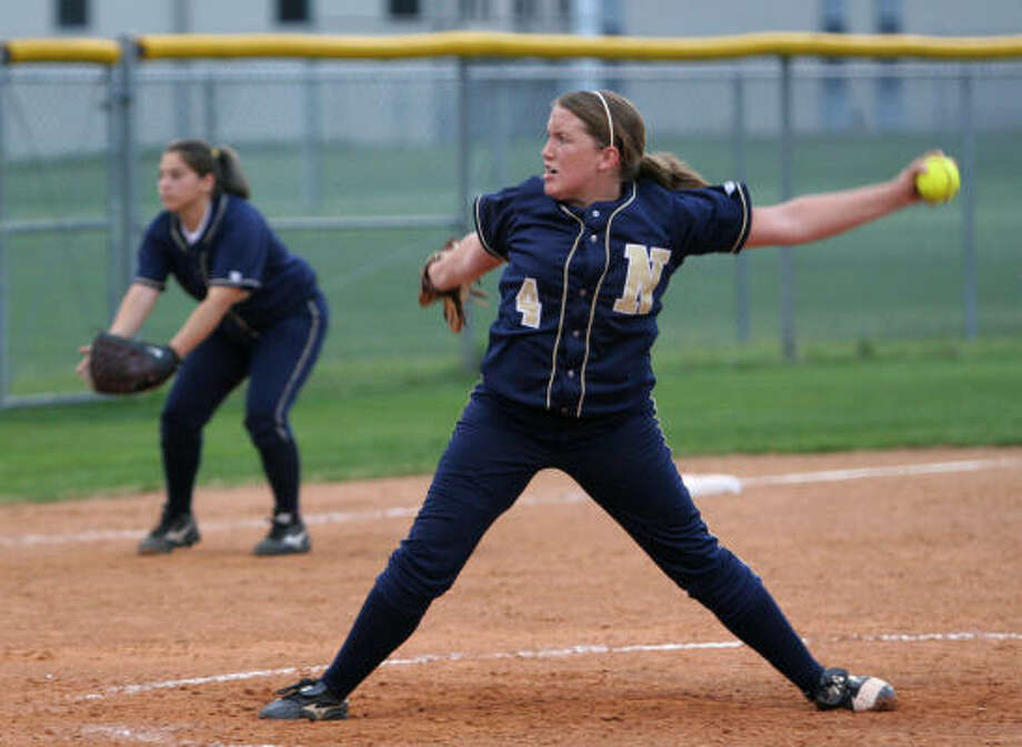 Jessica Davis struck out eight in going the distance during Nimitz's victory over Spring Woods. Photo: Gary Fountain, For The Chronicle