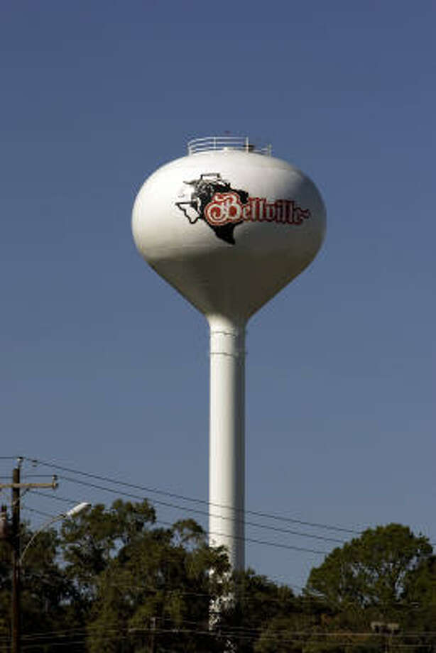 As you enter Bellville, the water tower in Bellville has the Bellville High School Brahmas and Brahmanettes logo towering over the trees. Photo: Johnny Hanson, Chronicle