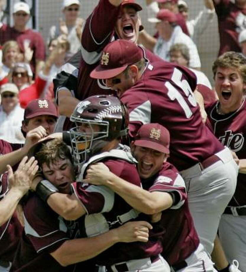 Mississippi State players celebrate their 8-5 win over Clemson in Starkville, Miss. The win completed a sweep of the Tigers. Photo: ROGELIO V. SOLIS, ASSOCIATED PRESS