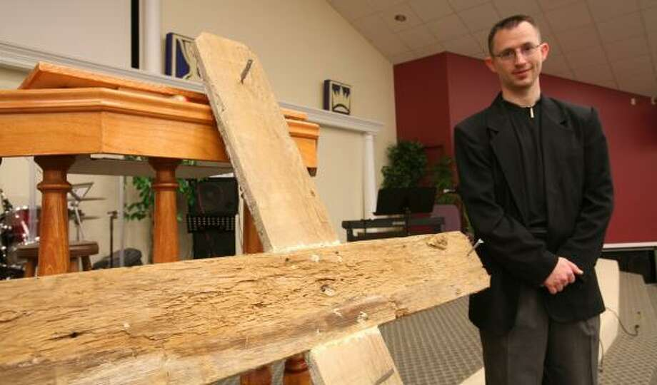 Pastor Lee Brockinton of Life Church is having a large wooden cross prepared for Easter. The church celebrated its fifth anniversary  March 10. Photo: Suzanne Rehak, For The Chronicle