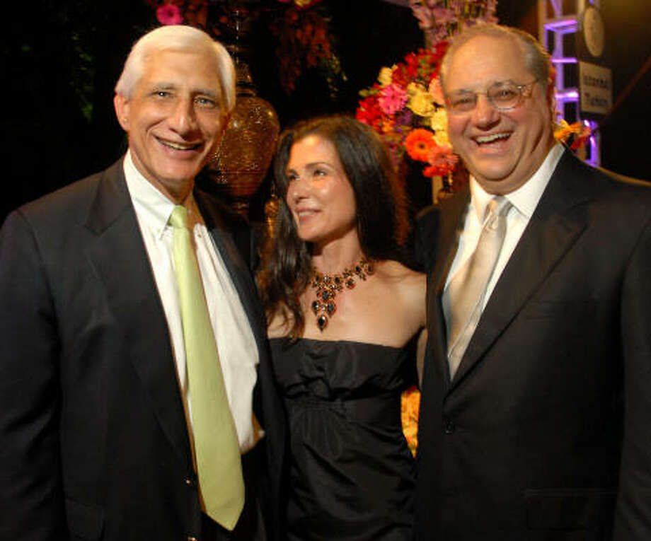 Steve Farris, left, with hosts Cynthia and Anthony Petrello Photo: David Rossman, For The Chronicle