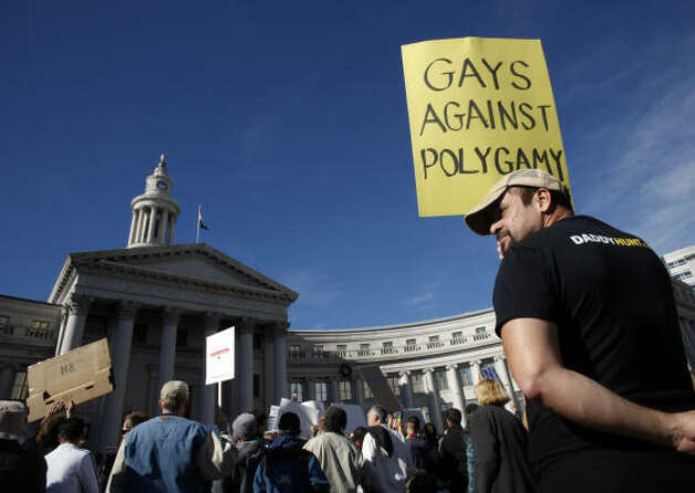 DENVERMitch Stapleton holds up a sign during a protest against  Proposition 8 outside the City/County Building in Denver on Saturday. Photo: David Zalubowski, AP