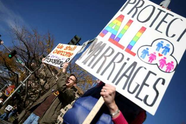 BILLINGSTyler Garrad of Billings, Mont., left, joined about 50 others to take part in a national day of protest against the passage of Proposition 8. Photo: Casey Riffe, AP