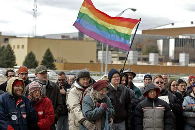 DES MOINESDemonstrators attend a protest against California's Prop 8 Saturday at the Des Moines City Hall in Iowa. Photo: Bill Neibergall, AP