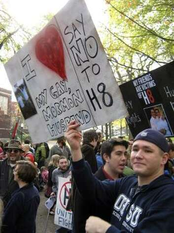 PORTLANDJacob Howa-Morrow, holds sign during an anti-Proposition 8 rally Saturday. Photo: Richard Read, AP