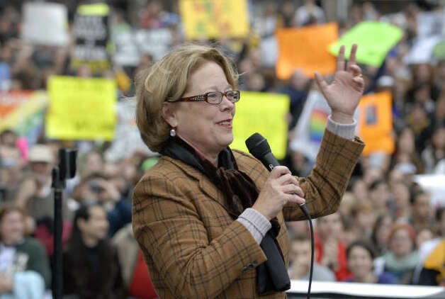 BOSTONU.S. Rep. Niki Tsongas, D-Mass., widow of former Senator and presidential candidate Paul Tsongas, speaks to a crowd who gathered to demonstrate against Proposition 8. Photo: Josh Reynolds, AP