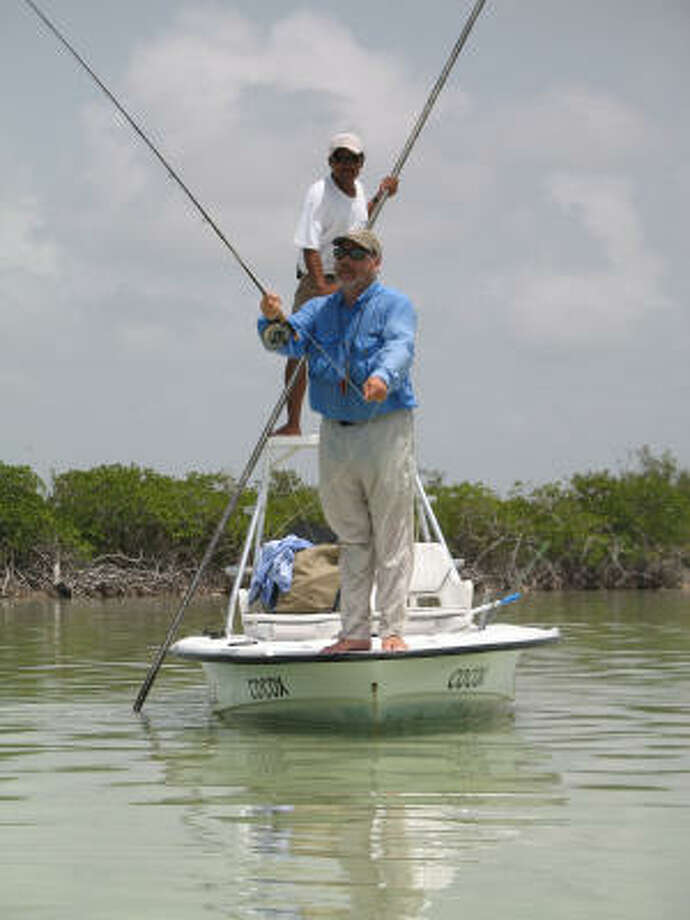 Flats skiff provides stable casting platform over soft bottom of a Yucatan lagoon. Photo: Handout
