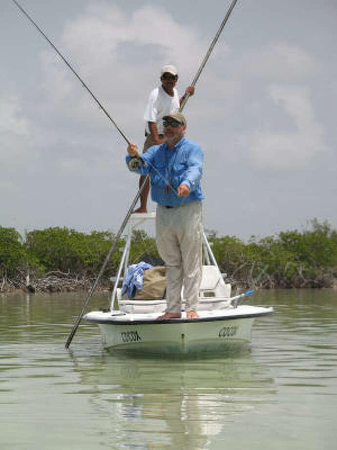 Flats skiff provides stable casting platform over soft bottom of a Yucatan lagoon. Photo: Handout