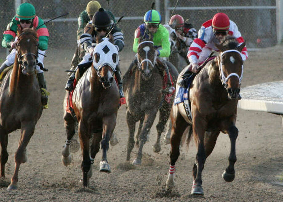Hard Spun (right), who won the Grade III Lecomte Stakes at Fair Grounds in January, is the 5-2 favorite in Saturday's Lane's End Stakes at Turfway Park in Florence, Ky. Photo: Lou Hodges Jr., AP
