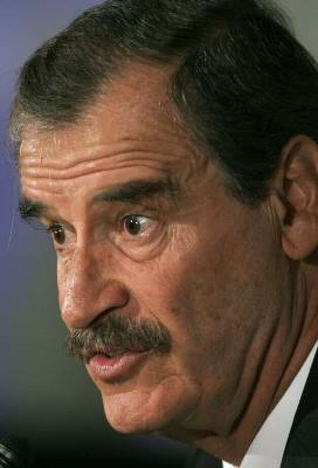 Unlike other former Mexican presidents, Vicente Fox, shown in 2005, has refused to fade from public view. Along with his wife, Fox has been giving lectures and is working on his memoirs. Photo: JORGE SAENZ, ASSOCIATED PRESS