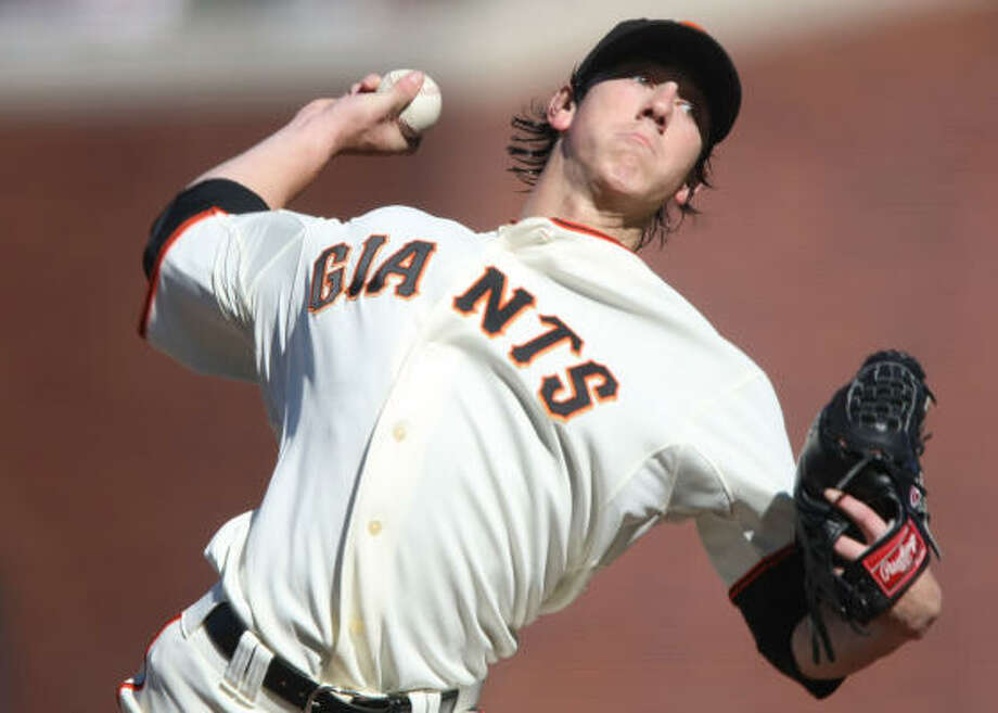 San Francisco Giants' Tim Lincecum won the 2008 NL Cy Young award with 137 points.Season Stats: W-L: 18-5 ERA: 2.62 IP: 227 Photo: Jed Jacobsohn, Getty Images