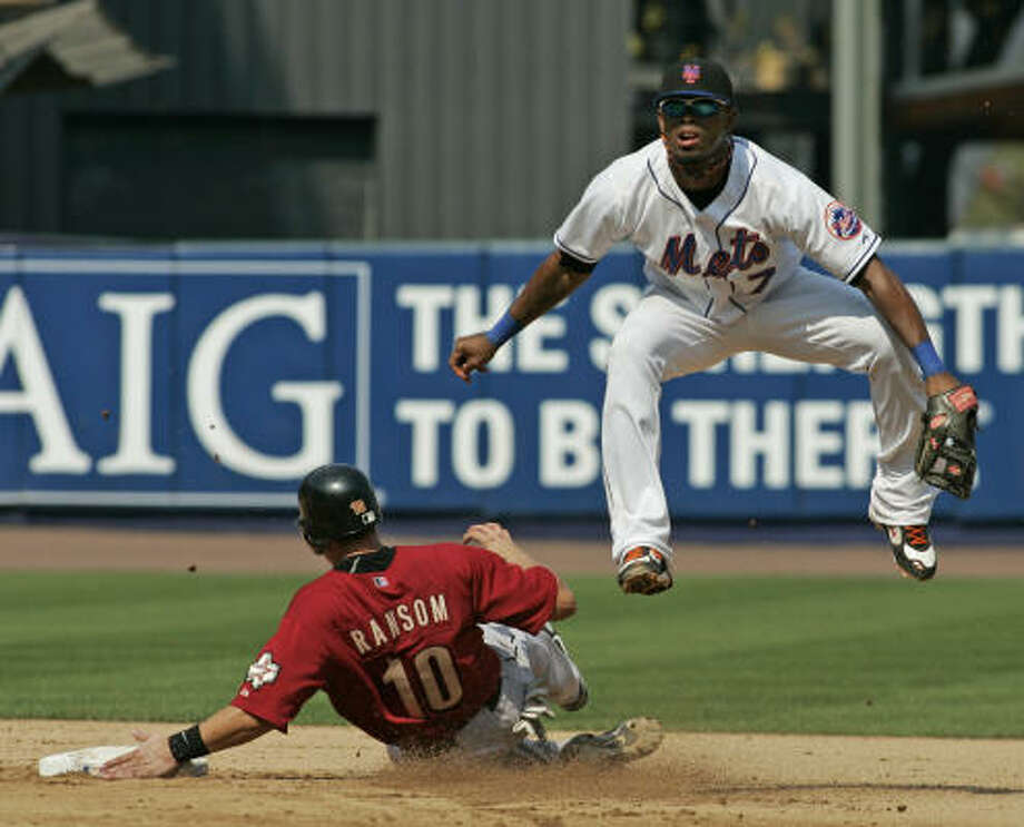 Cody Ransom, who was called up by the Astros earlier this month from Class AAA Round Rock, is out at second on a double play. Photo: Ed Betz, AP