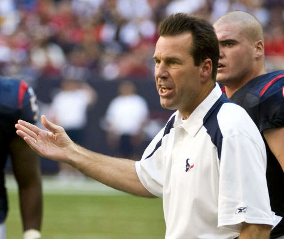 Newly hired head coach in 2006 (Previous job)Houston: Gary Kubiak (Offensive coordinator, Denver) 2008: 3-6 2007: 8-8 2006: 6-10 Total: 17-24 Winning percentage: 41.5% Photo: Dave Einsel, AP