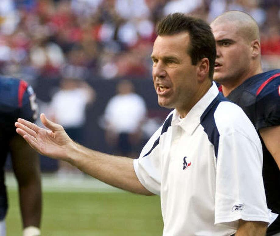 Newly hired head coach in 2006(Previous job)Houston: Gary Kubiak (Offensive coordinator, Denver) 2008: 3-6 2007: 8-8 2006: 6-10 Total: 17-24 Winning percentage: 41.5% Photo: Dave Einsel, AP