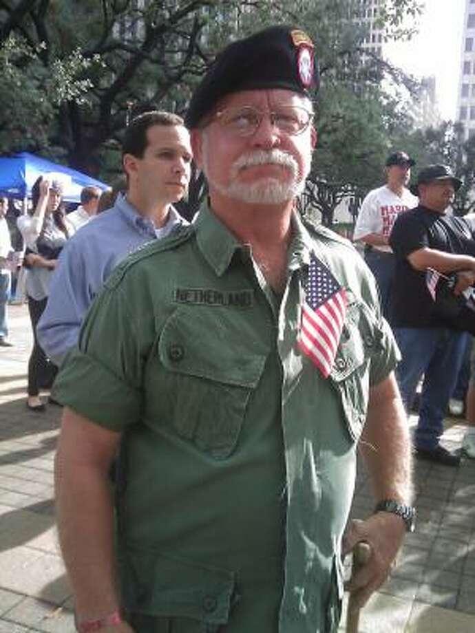 Vietnam veteran Tom Netherland outside City Hall. Photo: Dean Betz, Chronicle