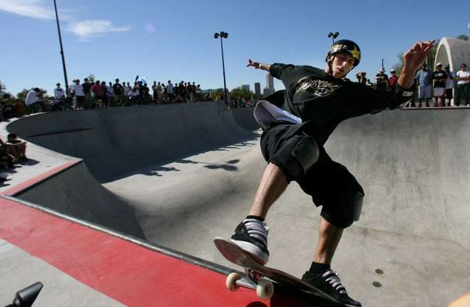 "Chris Gentry, professional skateboarder, competes in the World Cup Invitational Skateboard event. The Johnny Romano Leukemia Research Foundation and the 'Rock the Cradle"" event raises money for research and encourages attendees to donate blood to Gulf Coast Blood Center. Photo: Mayra Beltran, Houston Chronicle"