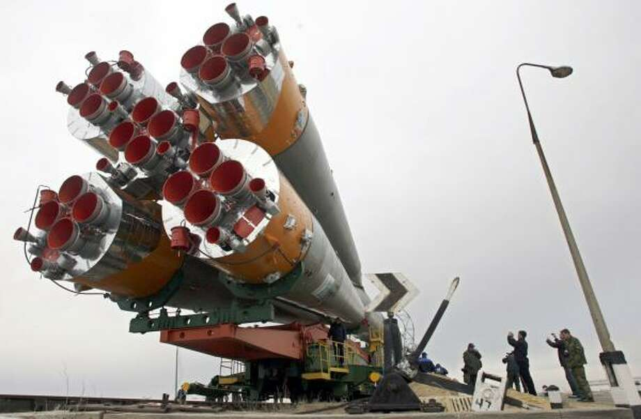 Hungarian software billionaire Charles Simonyi will join two cosmonauts for a trip to the international space station. This rocket is scheduled to insert them into orbit Saturday for a Monday docking. Photo: SERGEY PONOMAREV PHOTOS, ASSOCIATED PRESS