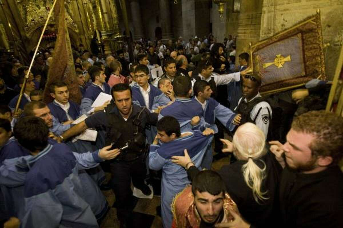 When holy men brawled at a holy site: A fight between Armenian and Greek Orthodox monks erupted at the Church of the Holy Sepulcher in the Old City of Jerusalem on Nov. 9, 2008. The site is traditionally believed to be the tomb of Jesus Christ at the Church of the Holy Sepulcher.Read more: Christian monks brawl at holy site