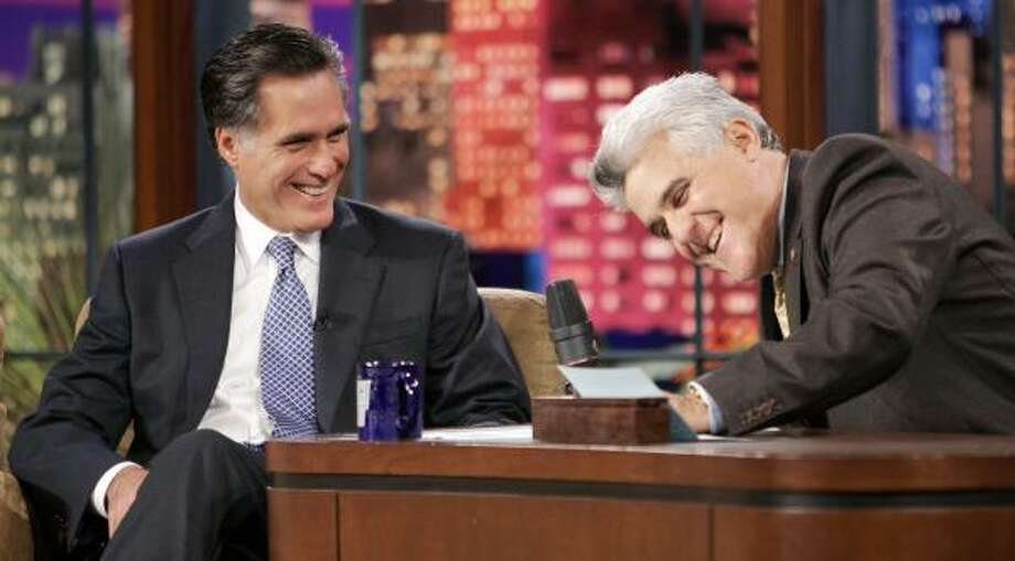 Mitt Romney, left, a GOP presidential candidate, appeared Wednesday night on The Tonight Show with Jay Leno. Photo: MARK J. TERRILL, AP