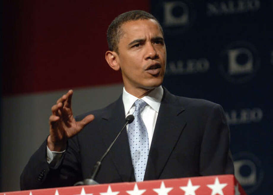 Democratic presidential candidate Sen. Barack Obama, D-Ill., addresses the National Association of Latino Elected and Appointed Officials conference in Lake Buena Vista, Fla., Saturday. Photo: Phelan M. Ebenhack, AP