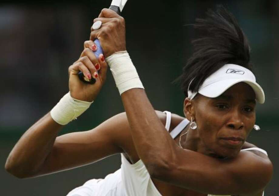 Venus Williams advances to the third round with a 6-2, 6-2 victory over Hana Sromova of the Czech Republic. Photo: ADRIAN DENNIS, AFP/GETTY IMAGES