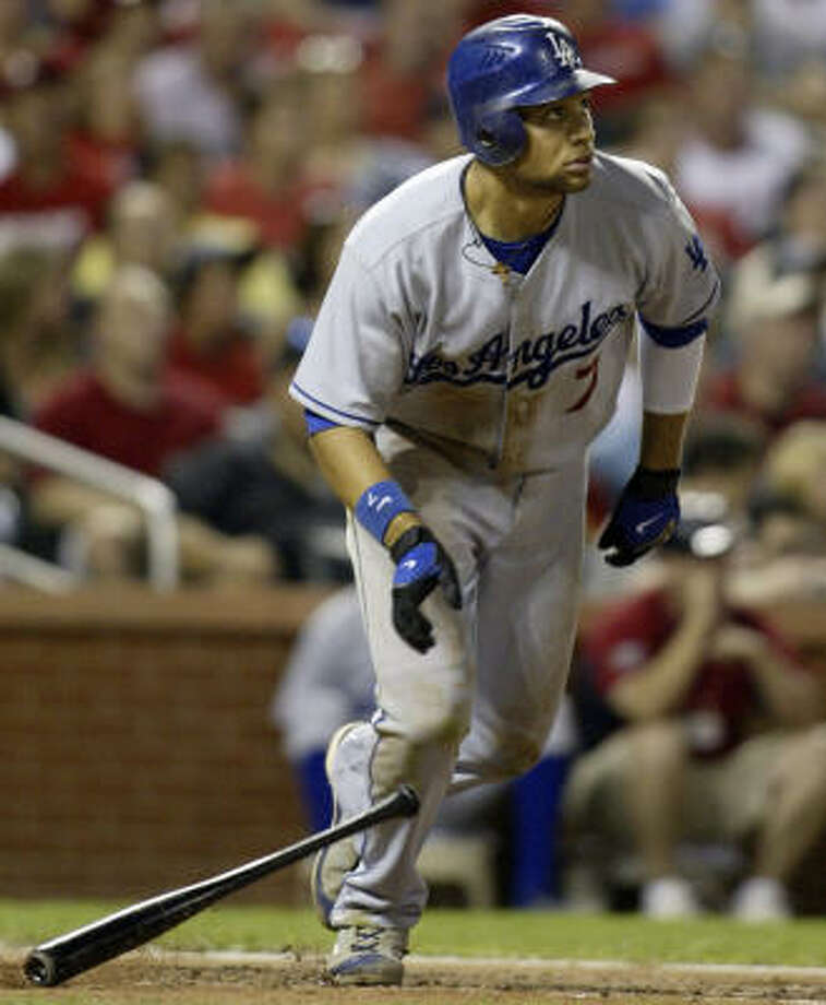 Elkins product James Loney has made a big impact as a rookie for the Los Angeles Dodgers. Photo: Tom Gannam, AP