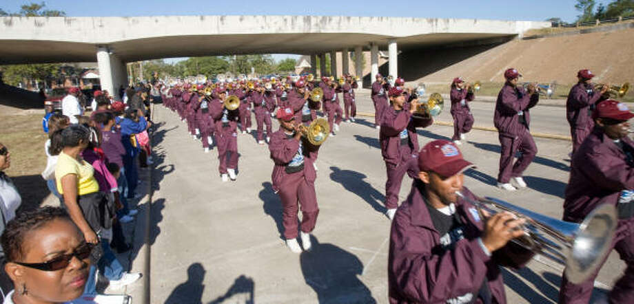 TSU's Ocean of Soul Band helped lead the parade. Photo: Steve Campbell, Houston Chronicle