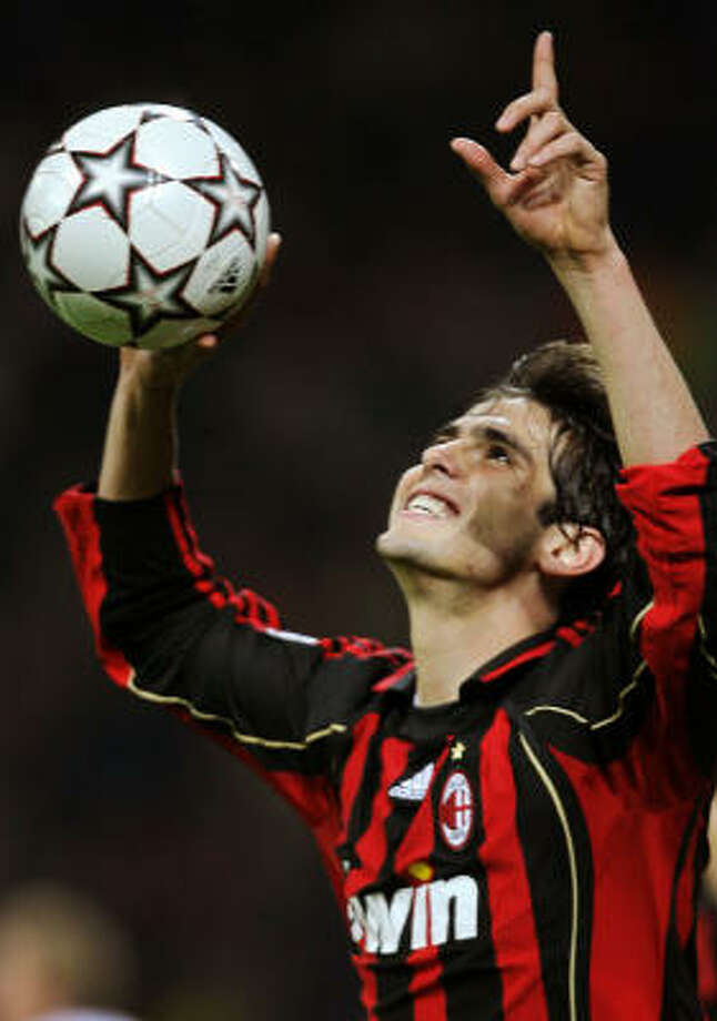Brazil forward Kaka is expected to be awarded the Golden Ball as Europe's best player on Sunday. He could equal Ronaldo, Ronaldinho and Rivaldo by winning both titles in the same year. Photo: FILIPPO MONTEFORTE, AFP/Getty Images