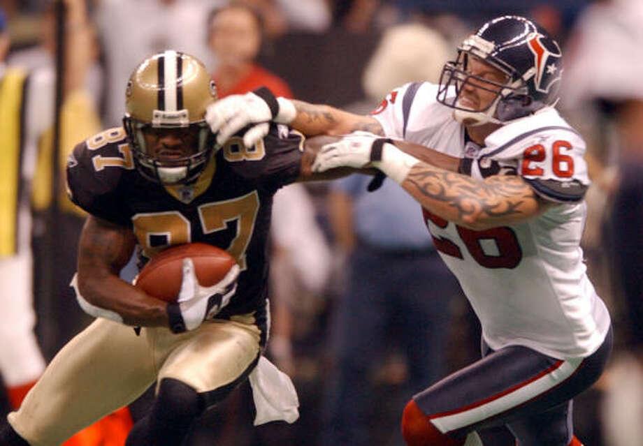 Matt Stevens (26) played his last two seasons for the Texans. Photo: Karen Warren, Houston Chronicle