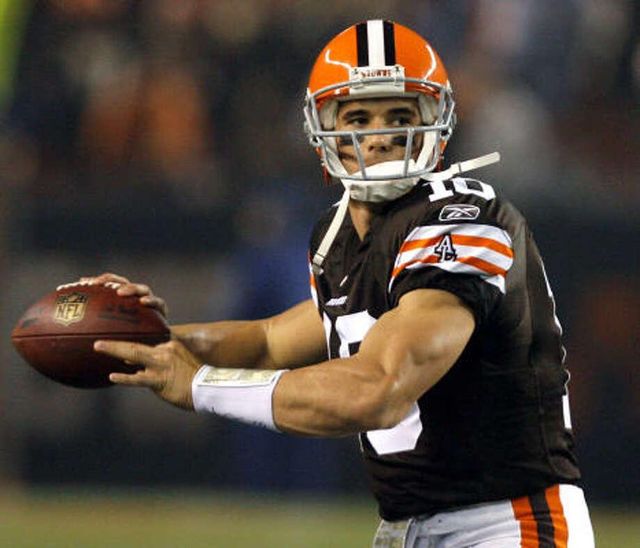 Browns quarterback Brady Quinn got his first NFL start. The Broncos beat the Browns, 34-30. Photo: Matt Sullivan, Getty Images