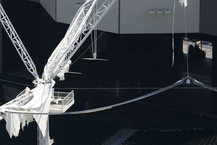 Damage to the Cynthia Woods Mitchell Pavilion is seen in The Woodlands. Photo: Smiley N. Pool, Chronicle