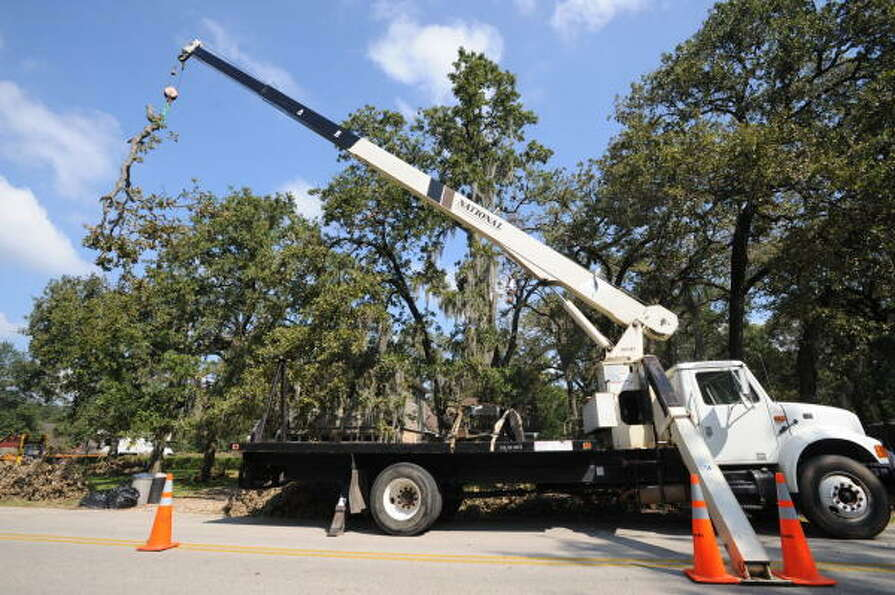 St. Matthew's Tree Services, based in Buffalo, NY, clears tall branches at house on Woodedge Drive n