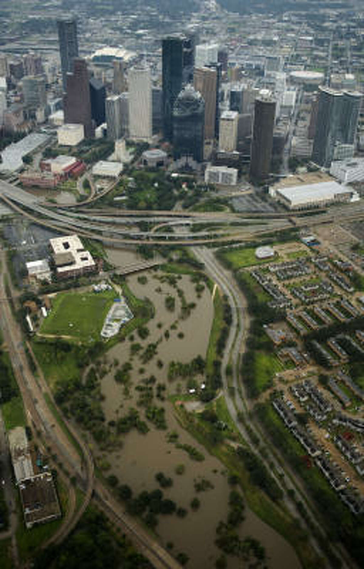 Buffalo Bayou nears its banks leading into downtown Houston after the passing of Hurricane Ike.