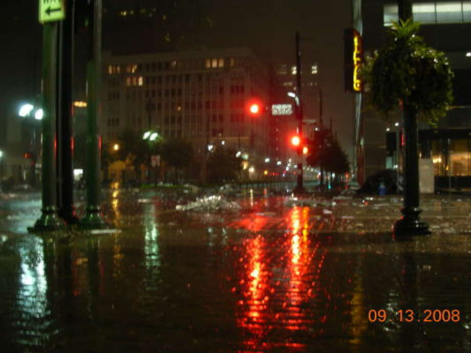 Main Street is littered with debris after Hurricane Ike moved through downtown Houston. Photo: Cory Heikkila, Chronicle