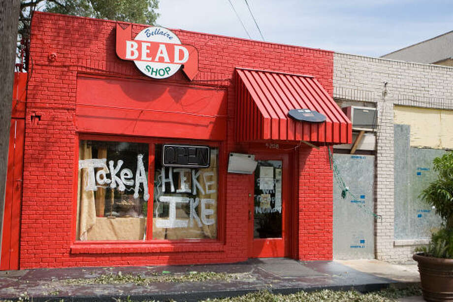 A message on the window of the Bellaire Bead Shop expressed a sentiment probably common among area residents. Photo: R. Clayton McKee, For The Chronicle
