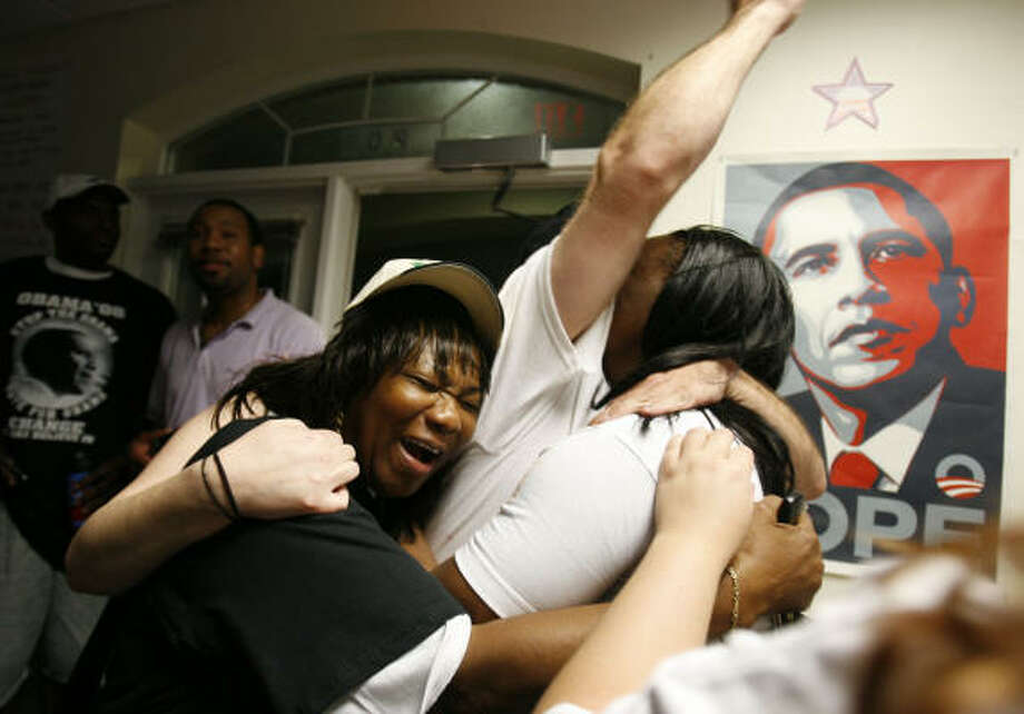 Elaine Oliver, left, of Houston and other campaign volunteers celebrate after learning that Barack Obama won the presidency at the Houston Obama for America campaign headquarters. Photo: Sharon Steinmann, Chronicle