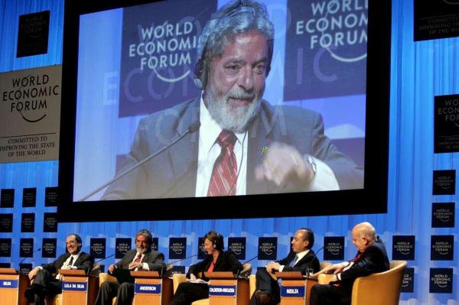 Brazilian President Luiz Inacio Lula da Silva speaks at the World Economic Forum in Davos, Switzerland. Photo: VIRGINIA MAYO, ASSOCIATED PRESS