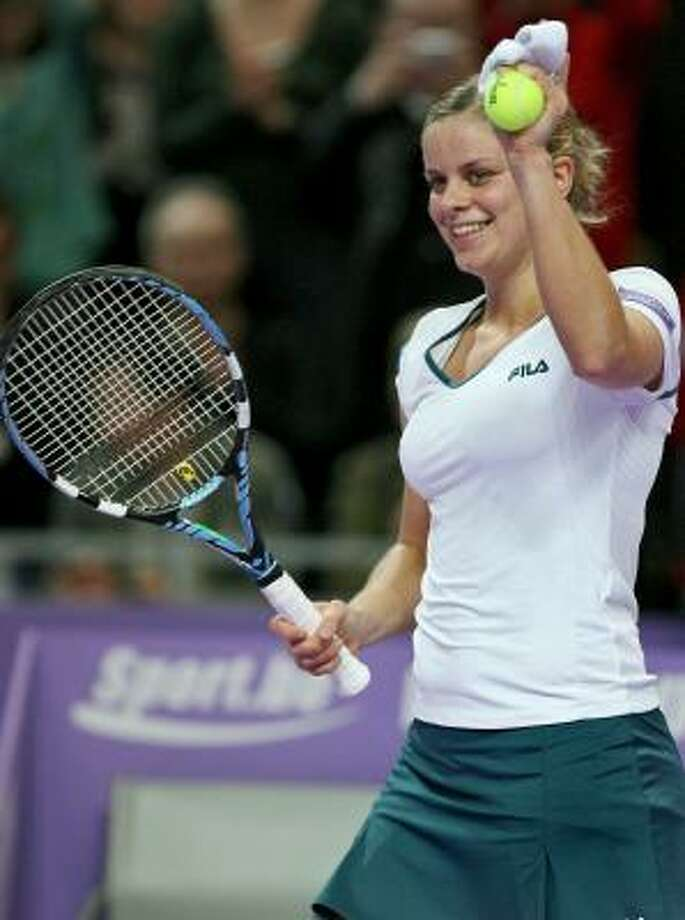 Kim Clijsters celebrates after beating Ana Ivanovic on Friday in the Diamond Games tournament in Antwerp, Belgium. Photo: ERIC LALMAND, AFP/GETTY IMAGES