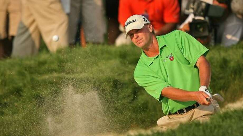 Steve Stricker heads into the final round of the The Barclays with a one-shot lead over K.J. Choi. Photo: M. Ehrmann, Getty Images