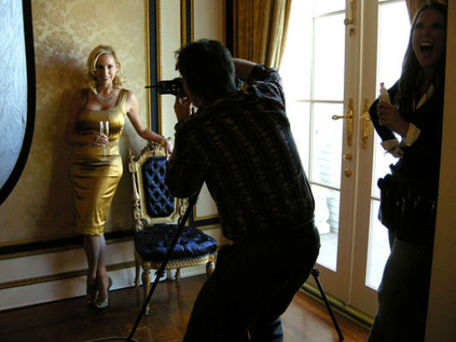 Cover girl Laura Spaulding posed for photographer Don Glentzer in the music room of her historic River Oaks Home. Makeup artist Dyanna Wilson stood by.