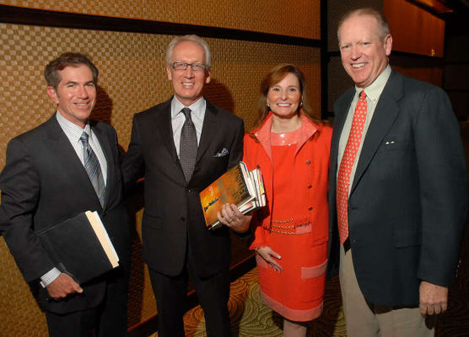 The Houston Chronicle's Jeff Cohen, from left, Don and Ann Short and the Chronicle's Jack Sweeney at the Houston Chronicle Book & Author Dinner. Photo: Dave Rossman, For The Chronicle