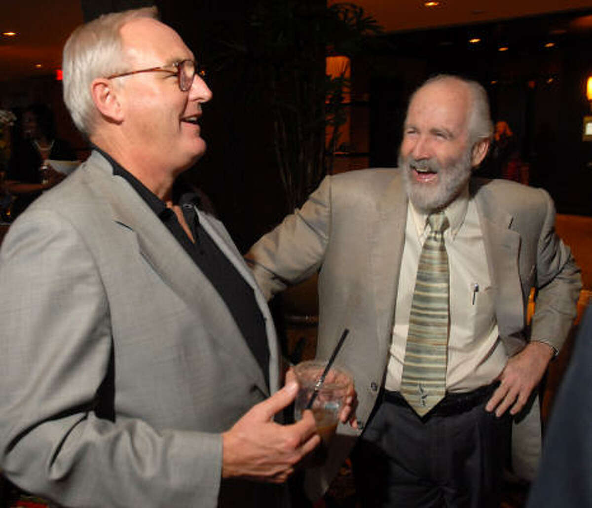 Author Christopher Buckley, left, and the Chronicle's Rick Casey at the Houston Chronicle Book & Author Dinner on Sunday.