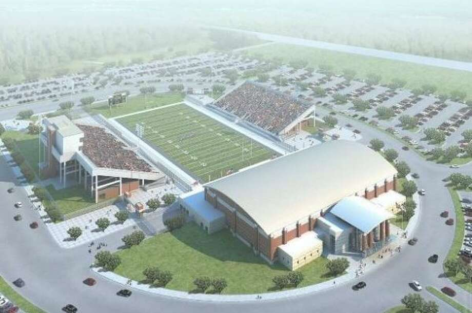 An artists rendering shows what the new South County varsity football stadium and swimming complex will look like. The site will feature 10,000 seats, 3,300 parking spaces, a swimming complex with 1- and 3-meter competitive diving boards and a pool measuring 7 feet deep at the shallow end and 14 feet deep in the diving end. Photo: PBK Architects, Conroe ISD