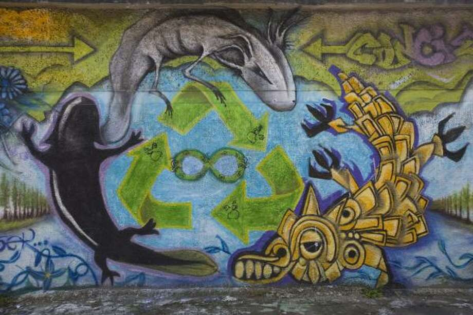 "A mural painted by graffiti artists called ""Colectivo Axolotl"" is seen near Xochimilco Lake in Mexico City. Photo: Dario Lopez-Mills, AP"