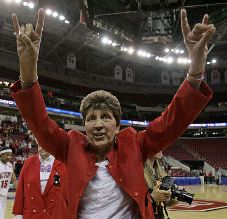 North Carolina State coach Kay Yow basks in the glow of Tuesday's 78-72 overtime win over Baylor that put the Wolfpack in the Sweet 16. Photo: Mary Ann Chastain, AP
