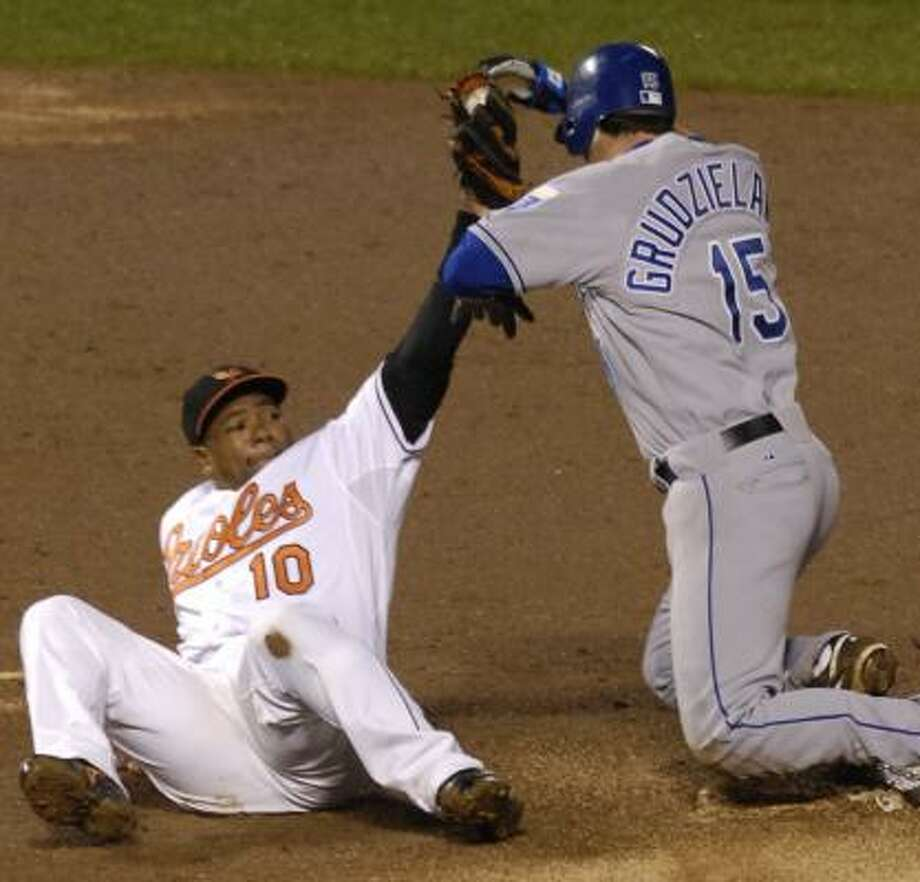 Orioles shortstop Miguel Tejada, left, looks to have made the out, but the Royals' Mark Grudzielanek beats the throw to second for a double Saturday in Baltimore. Photo: GAIL BURTON, ASSOCIATED PRESS