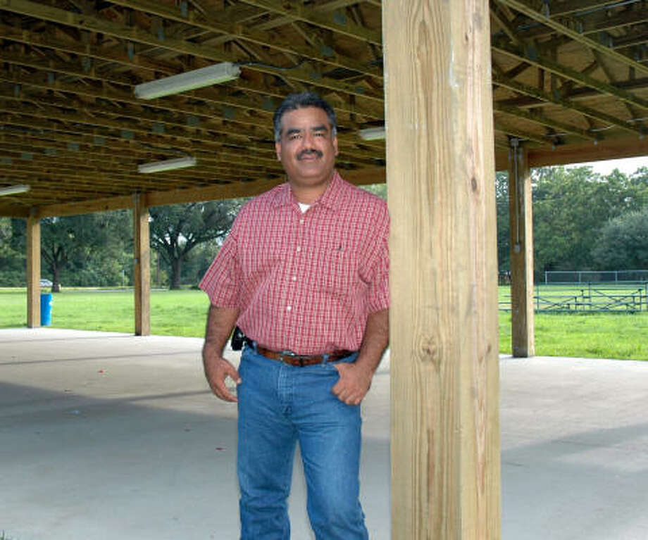 Xavier Ramirez helped organize the construction of the new pavilion at Ruben Adame Park in Alvin. Photo: Wendy Rudnicki, For The Chronicle