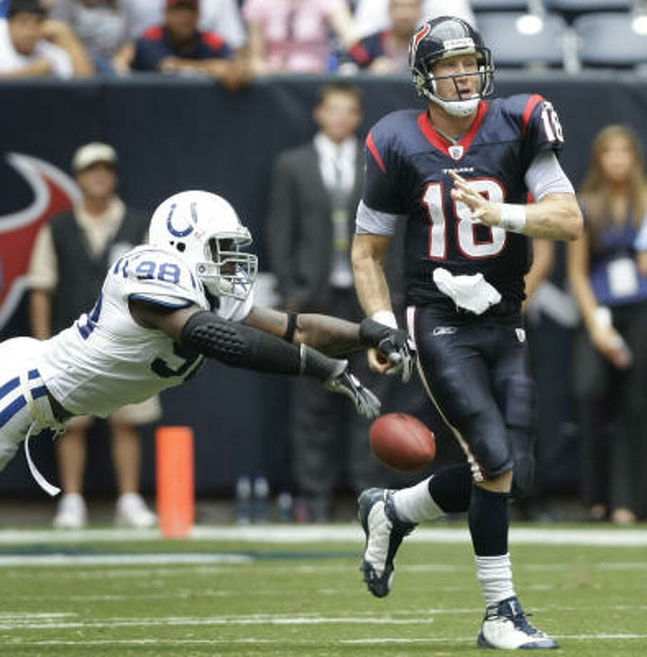When: Oct. 5, 2008. Score: Colts 31, Texans 27. What was weird about it?: Heck, what wasn't weird about it? Sage Rosenfels fumbled twice and threw an interception in the last five minutes to blow it for the Texans at Reliant Stadium. Photo: Brett Coomer, Chronicle
