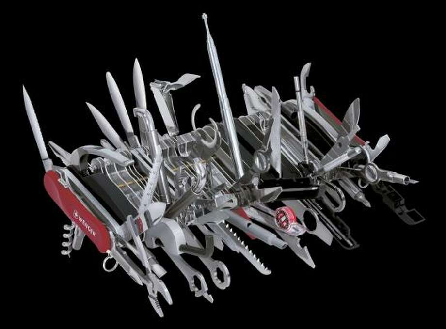 The new Swiss Army knife has 87 tools that can be put to at least 115 uses. It's got a hefty price tag, too: $1,200. Photo: WENGER NORTH AMERICA, ASSOCIATED PRESS